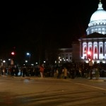 Protestors outside capitol Thursday night, after anti-union legislation was passed (photo courtesy of Morgan Harlow)