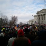 Protestors outside the Wisconsin State Capitol on Saturday, 3/12/11 (photo courtesy of Morgan Harlow)