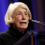 Poet Mary Oliver reads one of her poems during the lunch session at The Women