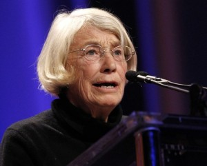 Poet Mary Oliver reads one of her poems during the lunch session at The Women's Conference in Long Beach, California October 26, 2010.