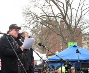 Michael Moore speaking in Madison, Wisc., March 5, 2011