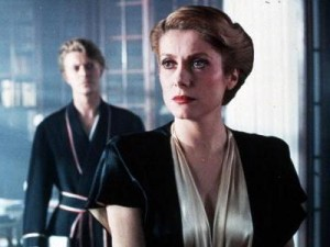 Publicity still from the movie 'The Hunger' with Catherine Deneuve and David Bowie.